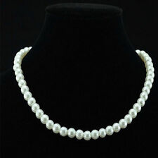 New Chic Single Strand Faux 6mm Pearl Bib Statement Necklace Jewellery Gifts UK