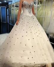 Latest Crystal Beading Sweetheart Wedding Dresses Custom Ball Gown Bridal Gowns