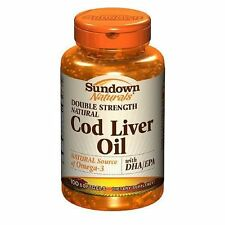 SUNDOWN NATURALS DOUBLE STRENGTH COD LIVER OIL WITH VITAMIN D3 100 SOFTGELS