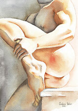 "PRINT of Original Art Work Watercolor Painting Gay Male Nude ""Come Close"""