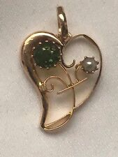 hallmark 15ct antique yellow gold green paste and seed pearl pendant-1.6g