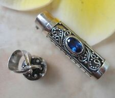 925 Sterling Silver-PL67-Blue Sapphire In Balinese Perfume Bottle/Oil Pendant