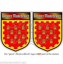 "GREATER MANCHESTER England UK Shield Decals Vinyl Bumper,Stickers 3"" (75mm) x2"