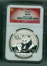 CHINA 2012 10 YUAN 1 OZ. .999 SILVER PANDA NGC MS-69 GEM BU WITH TONING SPOTS