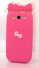 for Samsung galaxy s3 soft back case hot pink w/ 3D bow kitty kitten i9300 S III