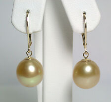 Radiant 11.5x12.5mm AA+ golden South Sea saltwater pearl & 9 carat gold earrings