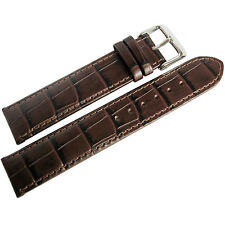 19mm Di-Modell Bali Mens Brown Alligator-Grain Leather German Watch Band Strap