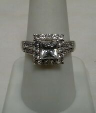 Sterling Silver Ring Princess Cut CZ, 1.82ctw -Marked JH 925 - Size 8.5