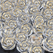 100x White Plastic Button Acryl Rose Straight hole Black PT60