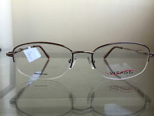 bagsclothesetc: NEW VISAGE E211 Womens Brown Semi Rimless Metal Eyeglass Frames