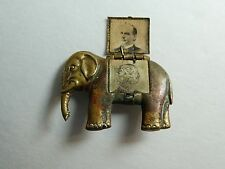 RARE McKinley & Hobart Presidential Campaign Mechanical Elephant Pin Badge 1896
