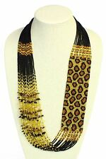 Leopard Guatemalan Glass Seed Beads Gold and Amber Necklace with Magnetic Clasp