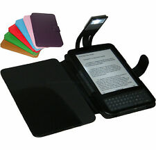 BLACK COVER CASE WITH LIGHT FOR AMAZON KINDLE 3 AND 3G
