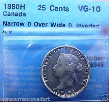 1880H Canada 25Cents Narrow O over wide O INVERTED A/V SCARCE