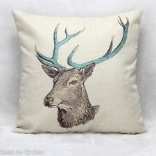 "18"" Cute Modern Style Blue Horned Deer Hollowfibre Filled Linen Cushion"