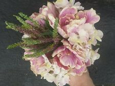 vintage style Artificial Hydrangea Flower Posy Bundle.with Heather 30cms