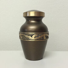 Cremation Urns - Keepsake - Ornate Hand-Etched Design - Chestnut Brown & Gold