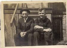 Sharped Dress Hat Suit Young Teen & Bib Overalls Mature Man On Stoop Vtg Photo