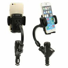360 Rotary Car Cigarette Lighter Socket Dual USB Charger Cell Phone Mount Holder