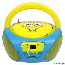NICKELODEON SPONGEBOB SQUAREPANTS CHILD'S PORTABLE CD PLAYER BOOMBOX RADIO NEW