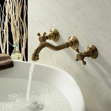 Bathroom Double Handles Antique Brass Faucet With Wall Mount Basin Mixer Tap