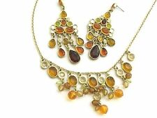 Liz Claiborne Necklace and Earrings Set~Amber,Topaz and Clear Chandelier Set