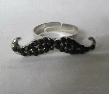 BLACK SMALL  ROUND  STONE SILVER TONE MUSTACHE ADJUSTABLE RING