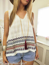 Patrons of Peace Embroidered Ethnic Ikat Hippy Boho Folk Sun Smock Tank 10 12