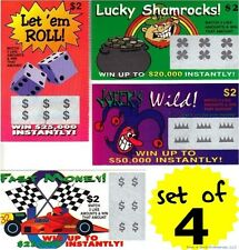 4 PHONY FAKE ALL WINNING SCRATCH OFF LOTTERY LOTTO TICKETS - Fun Gag Joke Prank
