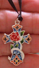 "1 3/8"" CROSS RED ROSE CHARM MEXICAN SUGAR CANDY ENAMEL PENDANT NECKLACE"