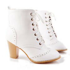 womens black white brown yellow ankle boots lace-up pu leather block heels boots