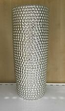 Modern Polished Chrome Silver Ceramic Dimple Dimpled Flower Vase 31cm NEW