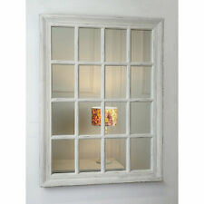 """Provence White Shabby Chic Rectangle Window Wall Mirror 40"""" x 28"""" V Large"""