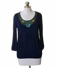 Willi Smith Navy Blue Stretch Knit Green Beaded Blouse Size S