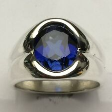 MJG STERLING SILVER MEN'S RING. 12 x 10mm OVAL BLUE SAPPHIRE- FACETED. SIZE 10.
