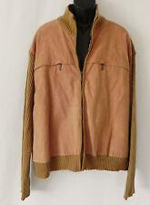 Robert Louis Sweater Jacket Suede Front Jersey Rib Knit Tan Size 4XB