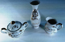 Vintage Lefton Golden Anniversary (50th) Sugar & Creamer, Bud Vase and glass
