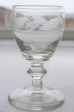 Late Georgian Dram Gin Glass with Engraved Ovoid Bowl & Bladed Knop Stem 9.5 cm