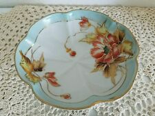 Nippon 3 footed Handpainted dish Orange flowers, yellow leaves, teal & gold edge