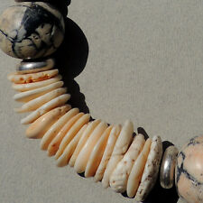 a necklace comprised of ancient shell silver stone beads not african trade #55
