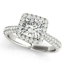 1.30 CT FOREVER BRILLIANT MOISSANITE CUSHION MICRO PAVE BAND ENGAGEMENT RING