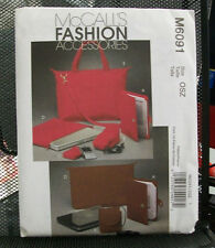 M6091 MCCALL'S SEWING PATTERN TOTE LAPTOP NOTEBOOK CASES CORD CASES PDA COVER