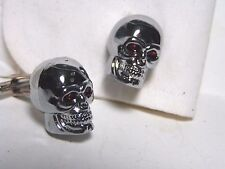 cufflinks BIG chrome skull with silver plated toggles soldered on