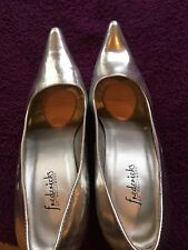 FREDERICKS OF HOLLYWOOD Silve Patent Leather Stiletto Pumps Heels Size12 Medium