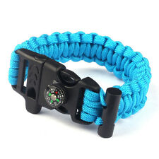 Outdoor Camping Hiking Paracord Survival Bracelet Wrist Watch With Compass Flint