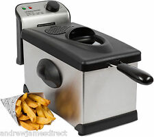 Andrew James Safety Deep Fat Fryer Stainless Steel Fish Chip Fry 3 Litre Basket