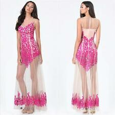 BEBE PINK ROSA SEQUIN SHEER EMBROIDERED GOWN DRESS NWT NEW $299 SMALL S 6