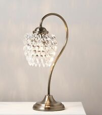 BNIB Vintage Boudoir Antique Brass Style Crystal Effect Floral Lamp NEW Gift.