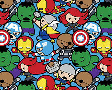 5 YARD BOLT MARVEL KAWAII ALL IN THE PACK AVENGERS SUPERHEROS 100% COTTON FABRIC
