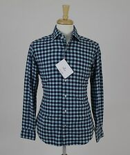 NWT Truzzi Blue Checked Tailored Vintage Men's Cotton Dress Shirt Size 40 15.75